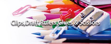 Clips,Draft Rulers,Glues & Scissors